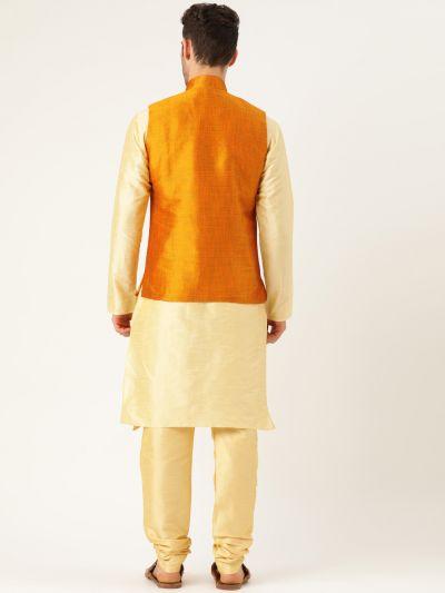 Sojanya (Since 1958), Mens Silk Blend Gold Kurta Pyjama & Mustard Nehrujacket Combo