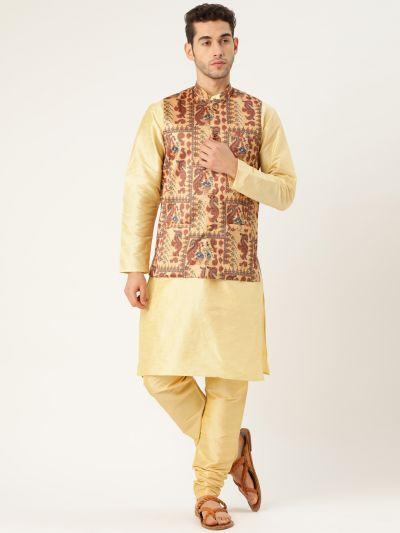 Sojanya (Since 1958), Mens Silk Blend Gold Kurta Pyjama & Multi Nehrujacket Combo