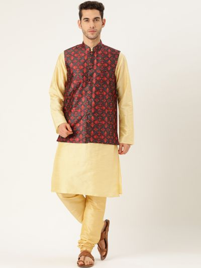Sojanya (Since 1958), Mens Silk Blend Gold Kurta Pyjama & Green Nehrujacket Combo
