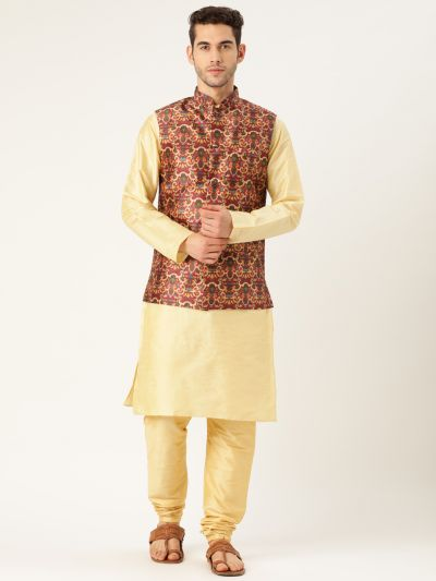 Sojanya (Since 1958), Mens Silk Blend Gold Kurta Pyjama & Maroon Nehrujacket Combo