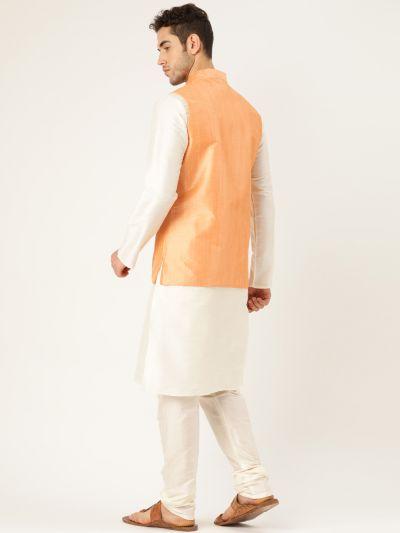 Sojanya (Since 1958), Mens Silk Blend Cream Kurta Pyjama & Peach Nehrujacket Combo