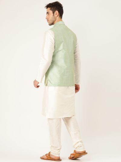 Sojanya (Since 1958), Mens Silk Blend Cream Kurta Pyjama & LimeGreen Nehrujacket Combo