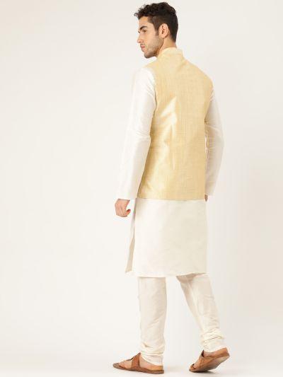 Sojanya (Since 1958), Mens Silk Blend Cream Kurta Pyjama & Gold Nehrujacket Combo