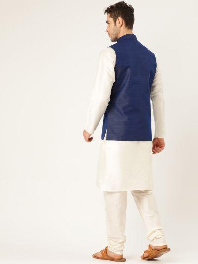 Sojanya (Since 1958), Mens Silk Blend Cream Kurta Pyjama & NavyBlue Nehrujacket Combo