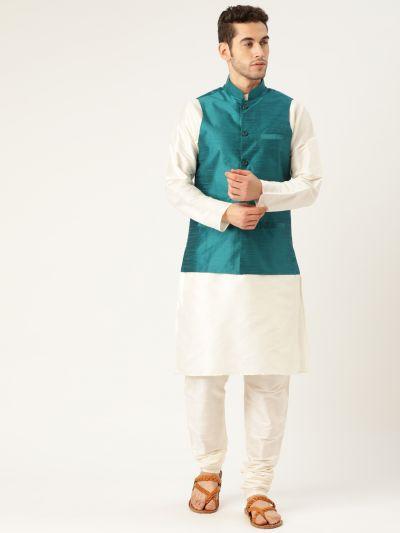 Sojanya (Since 1958), Mens Silk Blend Cream Kurta Pyjama & Peacock Blue Nehrujacket Combo