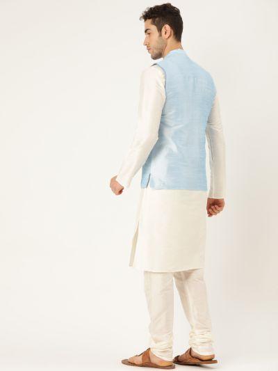 Sojanya (Since 1958), Mens Silk Blend Cream Kurta Pyjama & SkyBlue Nehrujacket Combo
