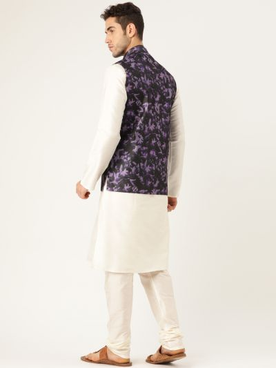 Sojanya (Since 1958), Mens Silk Blend Cream Kurta Pyjama & Navy Nehrujacket Combo
