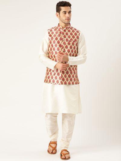 Sojanya (Since 1958), Mens Silk Blend Cream Kurta Pyjama & Red Nehrujacket Combo