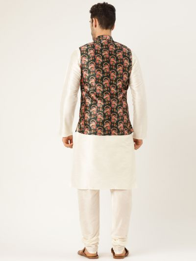 Sojanya (Since 1958), Mens Silk Blend Cream Kurta Pyjama & DarkGreen Nehrujacket Combo