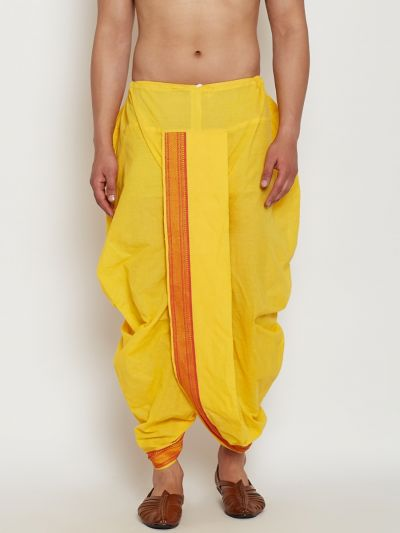 Sojanya (Since 1958), Stitched Yellow Mens Dhoti