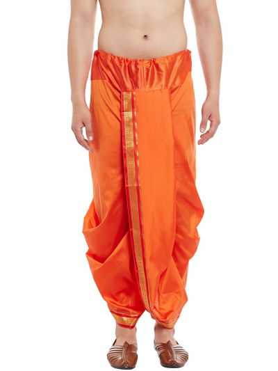 Sojanya (Since 1958), Stitched Orange With Red and Golden Border Mens Dhoti