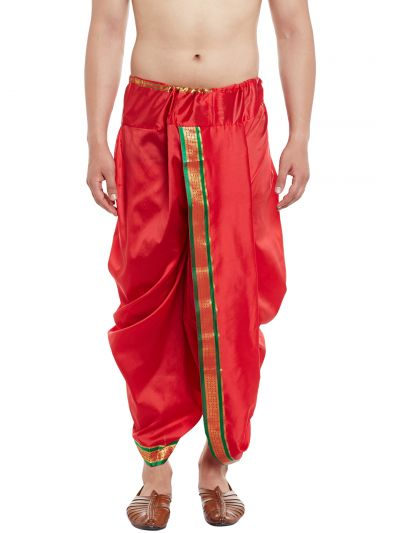 Sojanya (Since 1958), Stitched Red With Green and Golden Border Mens Dhoti