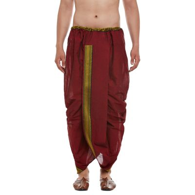 Sojanya (Since 1958), Stitched Maroon With Black and Golden Border Mens Dhoti