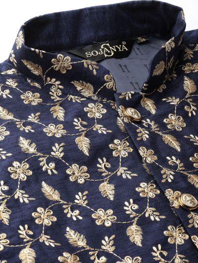 Sojanya (Since 1958) Men's Silk Blend Sky Blue Kurta Pyjama & Navy Blue Nehrujacket Combo