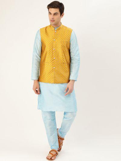 Sojanya (Since 1958) Men's Silk Blend Sky Blue Kurta Pyjama & Mustard Nehrujacket Combo