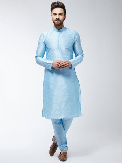 Sojanya (Since 1958) Men's Silk Blend Sky Blue Kurta & Churidaar Pyjama Set