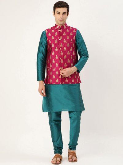 Sojanya (Since 1958) Men's Silk Blend Teal Green Kurta Pyjama & Magenta Nehrujacket Combo