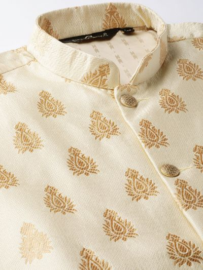 Sojanya (Since 1958) Men's Silk Blend Teal Green Kurta Pyjama & Beige Nehrujacket Combo