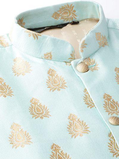 Sojanya (Since 1958) Men's Silk Blend Teal Green Kurta Pyjama & Sea Green Nehrujacket Combo