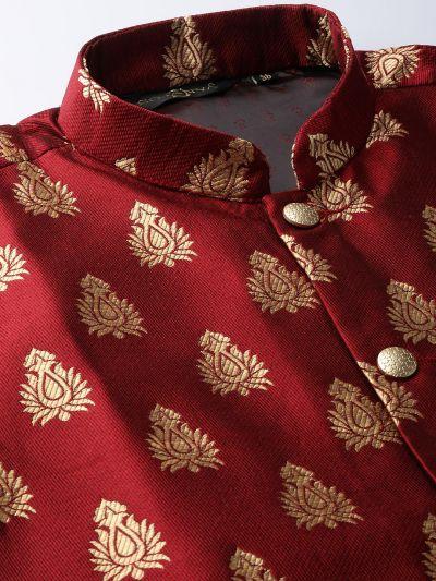 Sojanya (Since 1958) Men's Silk Blend Teal Green Kurta Pyjama & Maroon Nehrujacket Combo