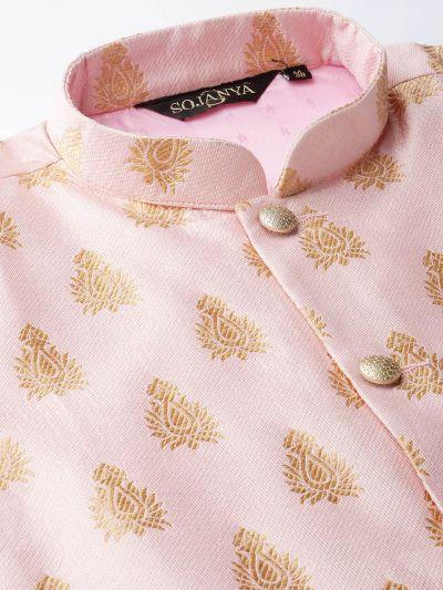 Sojanya (Since 1958) Men's Silk Blend Teal Green Kurta Pyjama & Pink Nehrujacket Combo