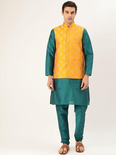 Sojanya (Since 1958) Men's Silk Blend Teal Green Kurta Pyjama & Mustard Nehrujacket Combo