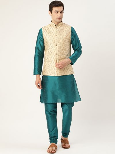 Sojanya (Since 1958) Men's Silk Blend Teal Green Kurta Pyjama & Beige Nehrujacket Combo