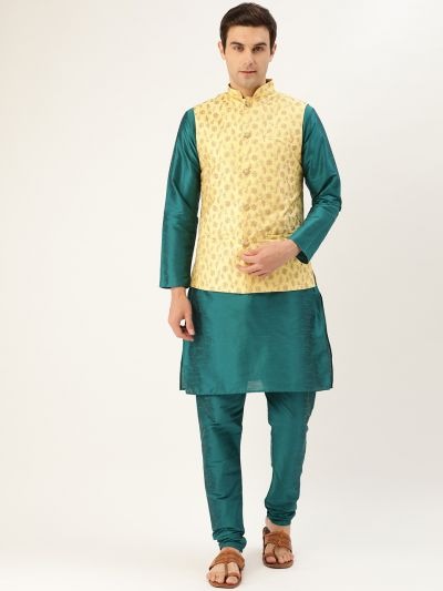 Sojanya (Since 1958) Men's Silk Blend Teal Green Kurta Pyjama & Lemon Nehrujacket Combo