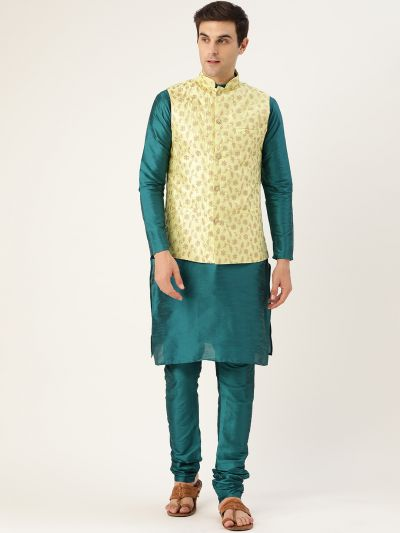 Sojanya (Since 1958) Men's Silk Blend Teal Green Kurta Pyjama & LimeGreen Nehrujacket Combo