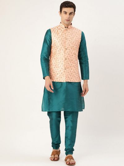 Sojanya (Since 1958) Men's Silk Blend Teal Green Kurta Pyjama & Peach Nehrujacket Combo