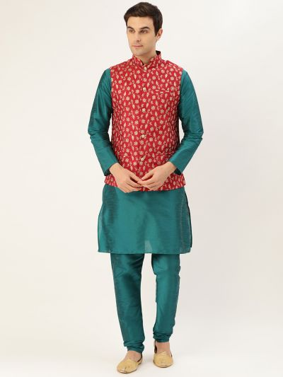 Sojanya (Since 1958) Men's Silk Blend Teal Green Kurta Pyjama & Red Nehrujacket Combo