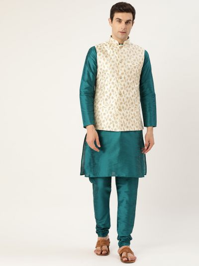 Sojanya (Since 1958) Men's Silk Blend Teal Green Kurta Pyjama & Cream Nehrujacket Combo
