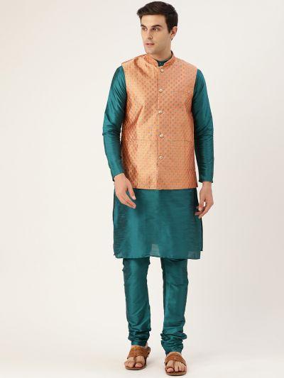 Sojanya (Since 1958) Men's Silk Blend Teal Green Kurta Pyjama & Peach Nehrujacket Combo