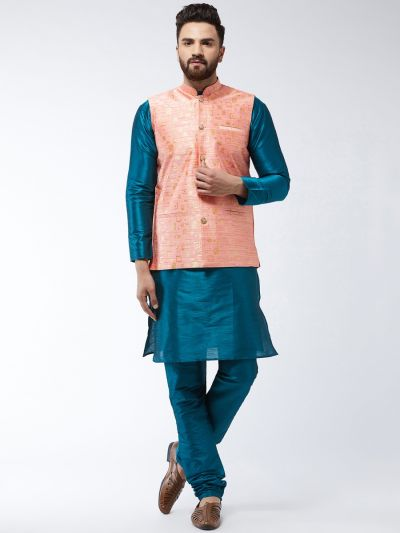 Sojanya (Since 1958) Men's Silk Blend TealGreen Kurta Pyjama & Peach Nehrujacket Combo