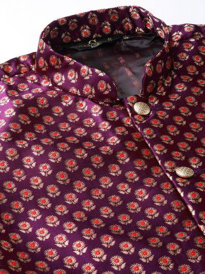 Sojanya (Since 1958) Men's Silk Blend Purple Kurta Pyjama & Wine Nehrujacket Combo