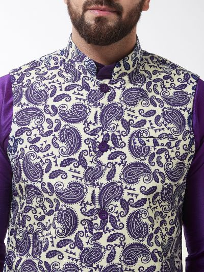Sojanya (Since 1958), Men's Silk Blend Purple Kurta With Pyjama & Cream Printed Nehrujacket Combo