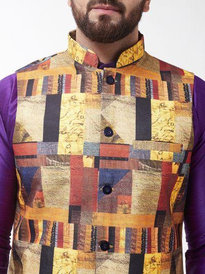 Sojanya (Since 1958), Men's Silk Blend Purple Kurta With Pyjama & Multi Printed Nehrujacket Combo