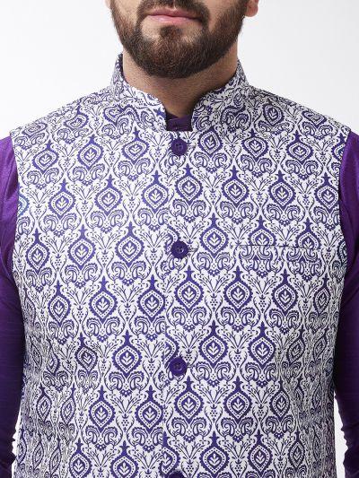 Sojanya (Since 1958), Men's Silk Blend Purple Kurta With Pyjama & Blue Printed Nehrujacket Combo