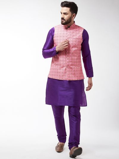 Sojanya (Since 1958), Men's Silk Blend Purple Kurta With Pyjama & Peach Printed Nehrujacket Combo