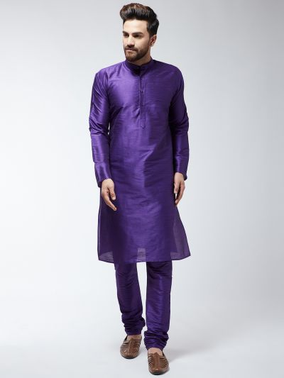 Sojanya (Since 1958) Men's Silk Blend Purple Kurta & Churidaar Pyjama Set