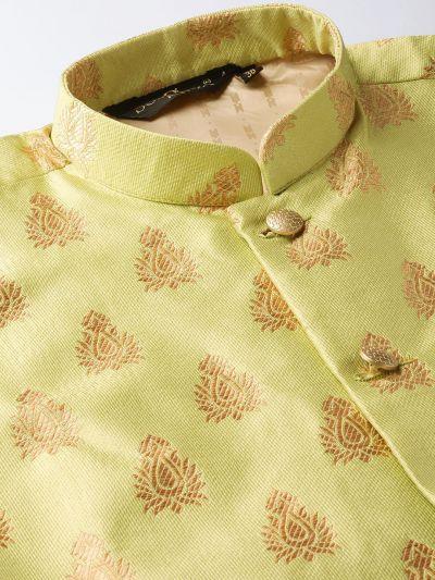 Sojanya (Since 1958) Men's Silk Blend Pink Kurta Pyjama & Green Nehrujacket Combo