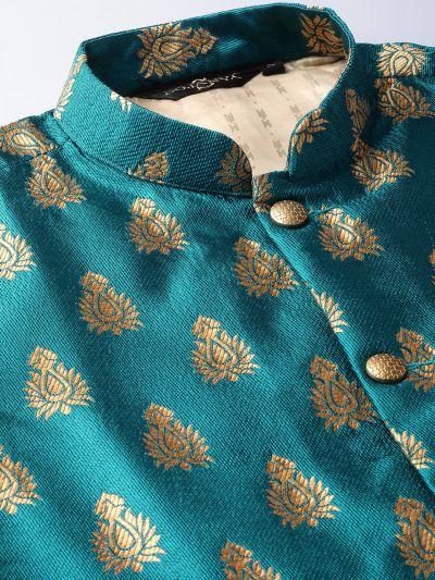 Sojanya (Since 1958) Men's Silk Blend Pink Kurta Pyjama & Teal Blue Nehrujacket Combo