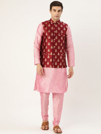 Sojanya (Since 1958) Men's Silk Blend Pink Kurta Pyjama & Maroon Nehrujacket Combo