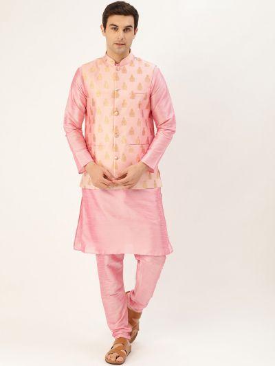 Sojanya (Since 1958) Men's Silk Blend Pink Kurta Pyjama & Pink Nehrujacket Combo