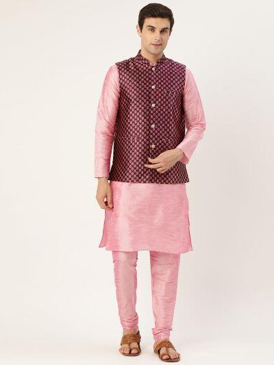 Sojanya (Since 1958) Men's Silk Blend Pink Kurta Pyjama & Wine Nehrujacket Combo