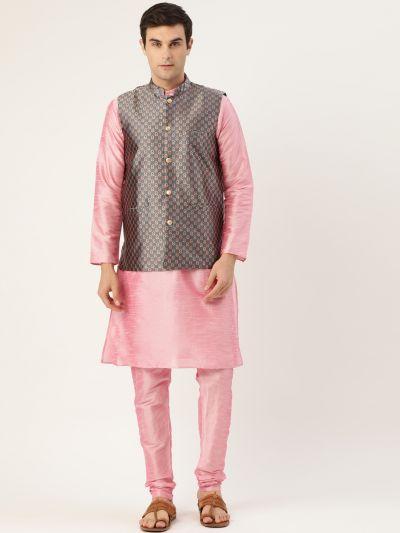 Sojanya (Since 1958) Men's Silk Blend Pink Kurta Pyjama & Charcoal Grey Nehrujacket Combo