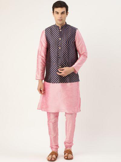 Sojanya (Since 1958) Men's Silk Blend Pink Kurta Pyjama & Navy Blue Nehrujacket Combo