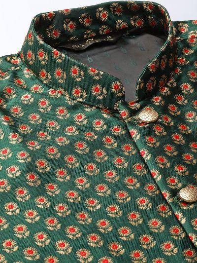 Sojanya (Since 1958) Men's Silk Blend Pink Kurta Pyjama & Dark Green Nehrujacket Combo