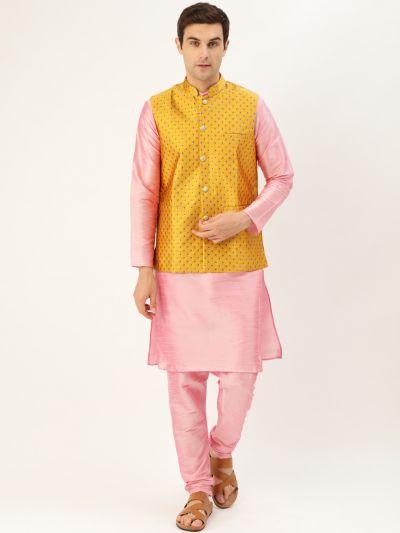 Sojanya (Since 1958) Men's Silk Blend Pink Kurta Pyjama & Mustard Nehrujacket Combo