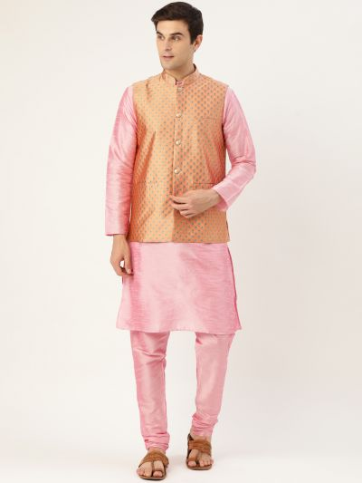 Sojanya (Since 1958) Men's Silk Blend Pink Kurta Pyjama & Peach Nehrujacket Combo